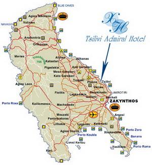 Zakynthos Grecia Harta